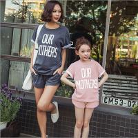 亲子套装夏2018新母女装母子韩版男女童纯棉短袖短裤休闲运动套装