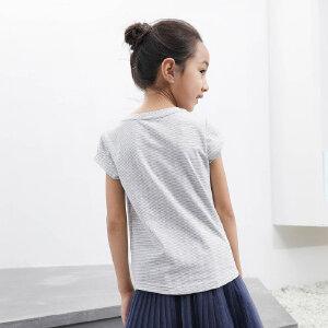【下单立享5折】amii童装细条纹短袖T恤棉夏季女童打底衫儿童半袖夏装打底衫上衣