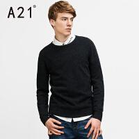 以纯A21男士春季新款羊绒衫青年打底衫修身毛衣男简约圆领套头针织衫