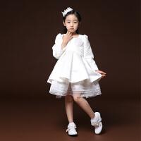 女童礼服裙长袖儿童公主裙 春季两件套花童生日小晚礼服
