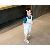 宝宝背带裤牛仔七分裤儿童裤子韩版女童裤小童白色裤子潮