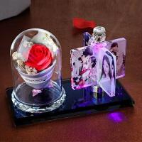 水晶相框摆台旋转 创意DIY手工定制旋转相框摆台相册生日摆件情侣婚纱照片结婚礼物