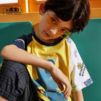 【2件3折:38.7元】小虎宝儿男童短袖T恤儿童宽松纯棉上衣中大童新款2021潮牌