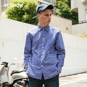 VIISHOW2017秋装新品纯棉休闲长袖衬衫男显瘦竖条纹标签男士衬衣
