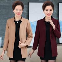 2017秋季新款中年女式毛呢大衣中长款韩版外套妈妈装中老年风衣女