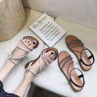 户外时尚凉鞋女韩版仙女风单鞋休闲时装水钻平底鞋
