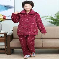 冬季女士夹棉袄睡衣加大码珊瑚绒三层加厚妈妈套装中老人法兰绒
