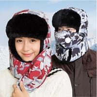 帽子男冬天季女韩版潮口罩雷锋帽青年户外骑车防寒风保暖帽迷彩帽