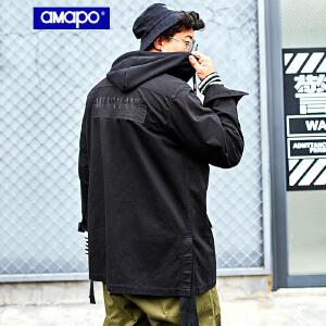 【限时抢购到手价:180元】AMAPO潮牌大码男装秋季新品加肥加大码潮胖子工装袋连帽夹克外套