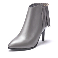 富贵鸟女靴时尚头层牛皮尖头短靴灵动流苏酒杯跟靴子女鞋