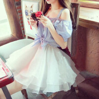 韩国吊带一字领露肩连衣裙女装公主夏蓬蓬纱裙假两件套漏肩短裙子