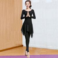 瑜伽服运动套装女秋冬雪纺裙裤显瘦练功形体舞蹈服宽松跳操健身服