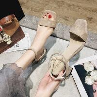 韩版时尚女士凉鞋ins休闲复古粗跟鞋舒适百搭女鞋