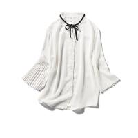【秒杀价35元】唐狮夏款白色长袖衬衫女学院风百褶喇叭袖小清新雪纺气Z