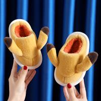 秋冬季儿童棉拖鞋男女童卡通可爱皮卡丘家用防滑亲子室内宝宝拖鞋