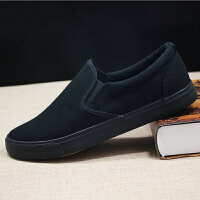 夏季透气帆布鞋一脚蹬懒人鞋男士鞋低帮平底鞋全黑色工作鞋男鞋子