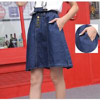 春季女装新款韩版中长款牛仔半身裙女学生高腰A字裙休闲大摆中裙