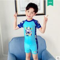 儿童泳衣男童中大童分体卡通长袖游泳衣温泉泳裤套装游泳装备