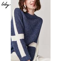 【1/18开抢 到手价130元】Lily冬女装时尚年轻拼色设计混纺毛衣圆领毛针织衫8E43