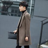 风衣男 中长款冬季新款韩版修身帅气大衣男士风衣毛呢外套男