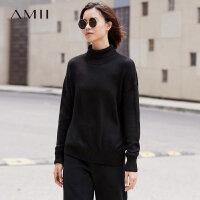 Amii[极简主义]高领毛衣女2017冬装新款长袖宽松套头针织上衣休闲