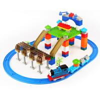 大颗粒拼装积木儿童玩具小火车轨道车男孩