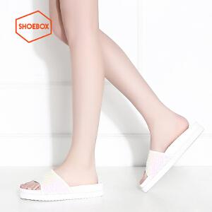 SHOEBOX/鞋柜平底休闲凉拖舒适女拖鞋