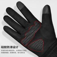 麂皮绒手套男冬天骑行加绒保暖触屏手套户外冬季骑车摩托厚棉手套
