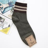 男士袜子韩国进口休闲棉袜秋冬季透气防臭商务袜男人条纹中筒短袜 均码