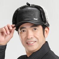 皮帽子男士冬天老人帽保暖鸭舌帽护耳帽雷锋帽加厚老头帽中老年帽