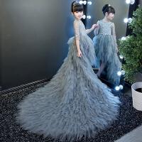梯台走秀演出礼服女童礼服裙拖尾 灰色儿童拖尾羽翼长袖儿童公主裙