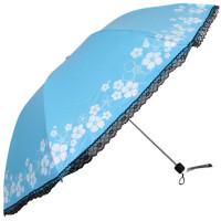 天堂伞33349e如琬似花三折叠晴雨伞两用蕾丝女防紫外线遮阳伞黑胶防晒太阳伞