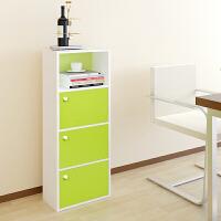 【当当自营】阿栗坞 四层三门收纳柜 储物柜 柜子 书柜书架 置物柜 绿色+白色 1010-1