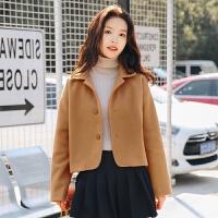 2017新款韩版纯色西装领宽松显瘦短款毛呢外套上衣女 驼色