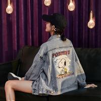 [1件2.5折价135.5元]史努比联名唐狮秋季新款牛仔外套女韩版宽松休闲牛仔衣夹克