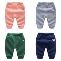 婴儿女童保暖打底裤3个月男宝宝新生儿裤子秋冬装