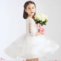 儿童公主裙女童礼服花童蓬蓬裙春夏女童婚纱裙大童演出服 白色