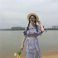 18夏季版拼接裙中长款宽松显瘦打底木耳边连衣裙女配腰带