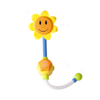 宝宝洗澡玩具电动喷水花洒向日葵男女孩儿童戏水沐浴婴儿浴室玩具 【电动喷水黄色】向日葵花洒 买一送六