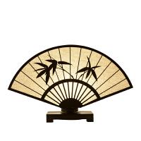 新中式台灯现代简约风格客厅书房卧室禅意古典布艺床头灯 柠檬黄 T-15 按钮开关