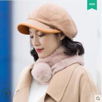 拼色包边立体花朵贝雷帽子女韩版英伦时尚鸭舌帽护耳羊毛呢