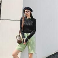 七格格打底针织衫女长袖2019新款冬季韩版套头圆领洋气修身上衣潮