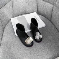 女童靴子冬新款�����和�黑色公主短靴小女孩�R丁靴
