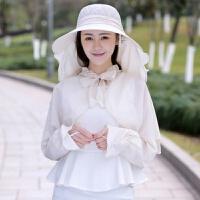 骑车防晒帽子遮脸防紫外线电动车遮阳帽可折叠太阳帽女士夏天凉帽 米白色 纯色