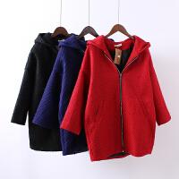 J4秋冬新款女装加厚夹棉中长款毛呢大衣大码连帽女士显瘦外套1.46