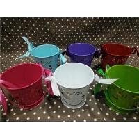 糖果色铁皮桶 彩色铁桶花盆插花桶 家居装饰摄影道具水桶儿童道具