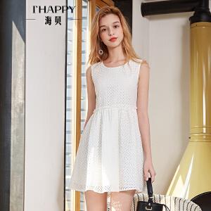 海贝2018夏装新款女简约气质白色镂空圆领高腰无袖修身连衣裙短裙