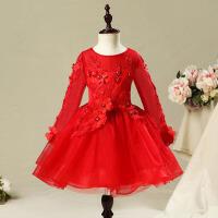 儿童婚纱长裙韩版婚礼服 花童礼服女红色秋季长袖女童公主裙蓬蓬纱