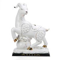 陶瓷山羊�[件十二生肖羊工�品家居家�b�品�[�O�L水吉祥物