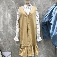 韩国ulzzang2018春装新款时尚V领单排扣荷叶边连衣裙女纯色背心裙